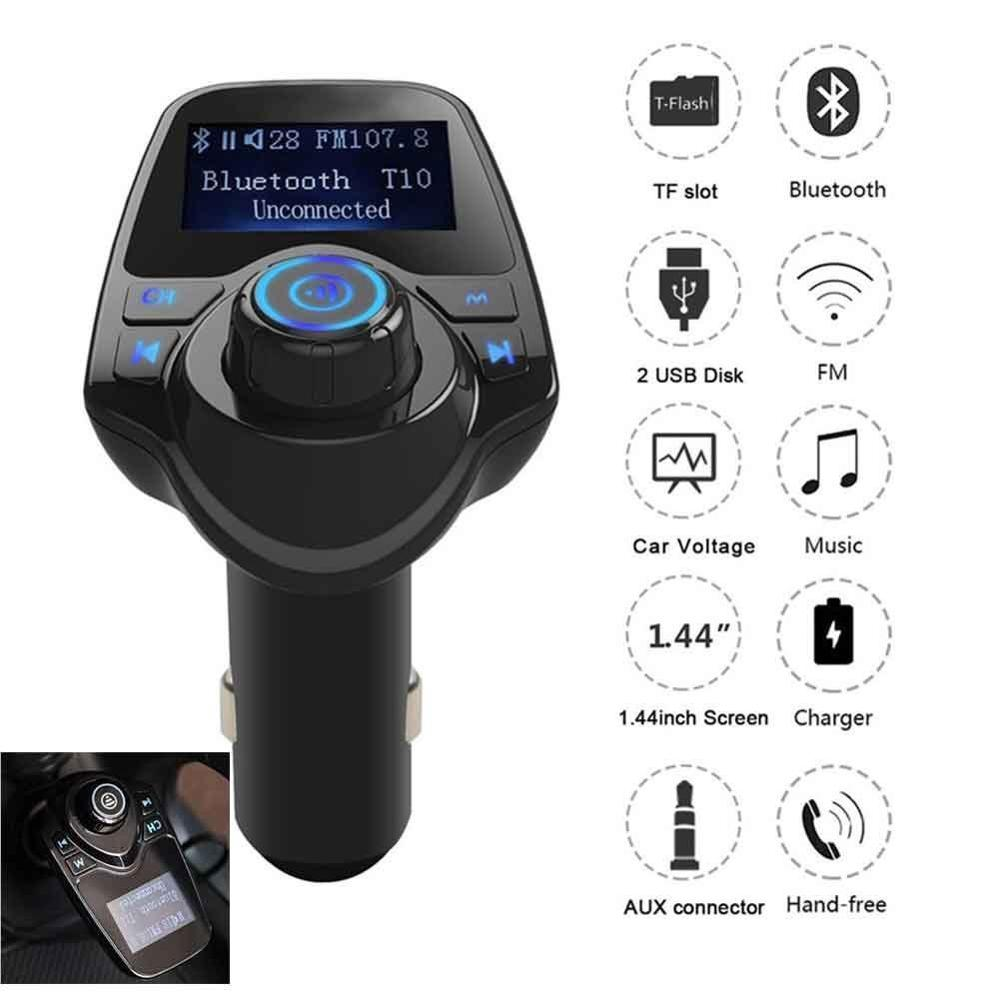 Car Mp3 Player Wireless Bluetooth Fm Transmitter FM Modulator HandsFree Car Kit A2DP 5V 2.1A USB Charger For iPhone Samsung T11 image
