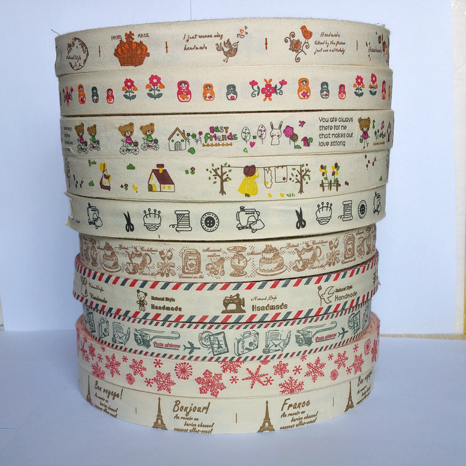 20Yards 20mm cartoon Printed cotton ribbon clothing accessories material accessories Gift Wrapping Scrapbooking Supplies Riband in Ribbons from Home Garden