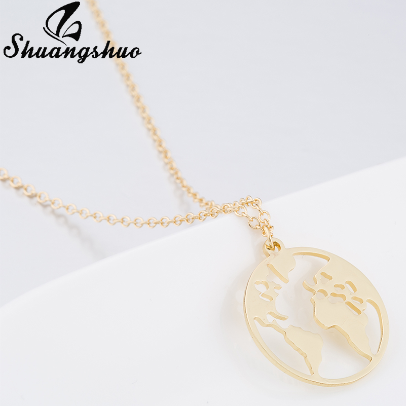 Shuangshuo Vintage Origami World Map Necklace Women Geometric Necklace Round Necklace Circle Necklaces & Pendants Choker Jewelry 7