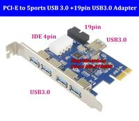 Super speed PCIE to usb3.0 5ports +19pin /20pin USB3.0 expansion card with IDE 4pin ports for Desktop window