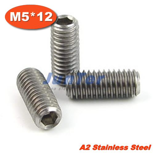 100 pcs/lot DIN913 M5 * 12 vis à tête plate en acier inoxydable
