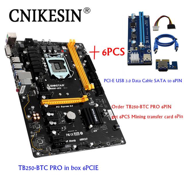 CNIKESIN 6PCI TB250-BTC Original in box For Biostar TB250-BTC TB250 1151 DDR4 mining board with VER006C PCI-E 6PIN Riser Card