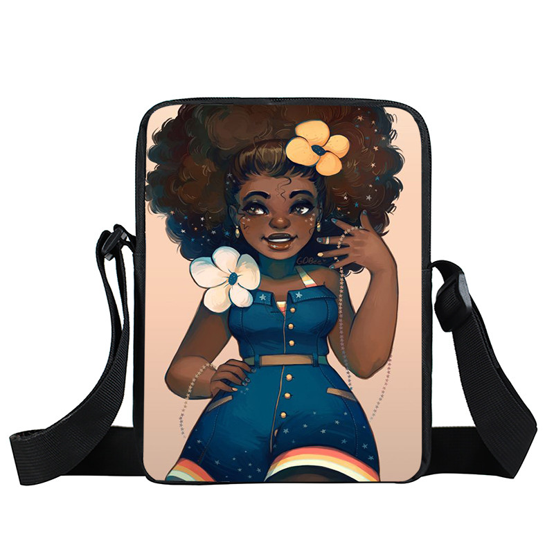Afro Lady Girl messenger bag Africa Beauty Princess small shoulder bag brown women handbag mini totes teenager crossbody bags 41