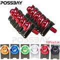POSSBAY 10PCS M5 Motorcycle Scooters Fairing Body Spring Bolts Nuts Spire Speed Fastener Clips Screw For Honda Yamaha Kawasaki