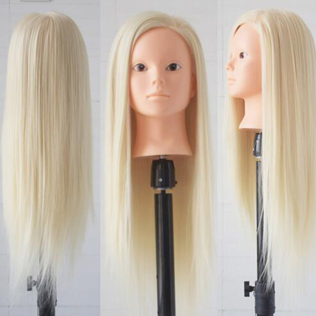 """Hot Sale 26"""" Mannequin Head Hairstyling Training Doll Head Cosmetology Manikin Head Doll For Hairdressers Makeup With Free Clamp"""