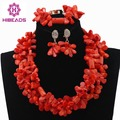 Amazing Wedding African Coral Beads Jewelry Set Coral Beaded Cluster Statement Necklace Set 2017 More Color Free Shipping CNR606