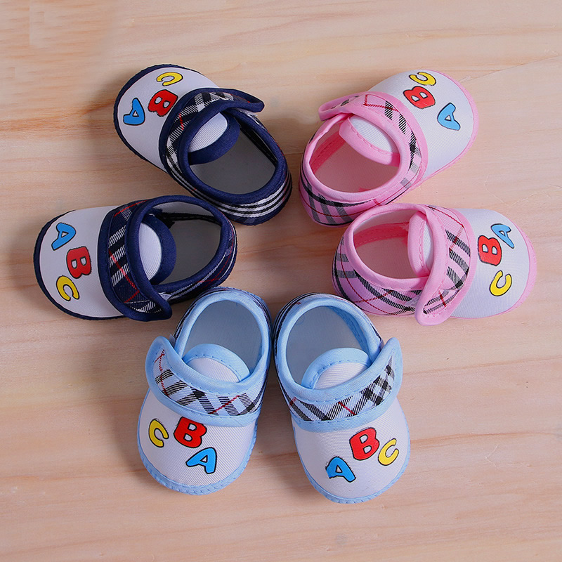 Cotton Newborn First Walker Shoes for Baby Girl Boys Fashion Casual Baby Toddler Shoes Gingham Letter Summer Newborn Shoes SS38