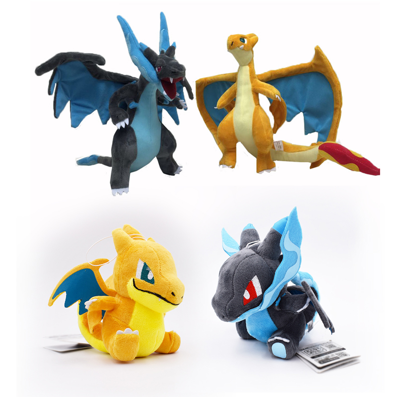 4 Styles Q Version Mega Charizard X&Y Mega Charizard Y Mega Evolution  Animal Stuffed Peluche Plush Quality Toys For Children