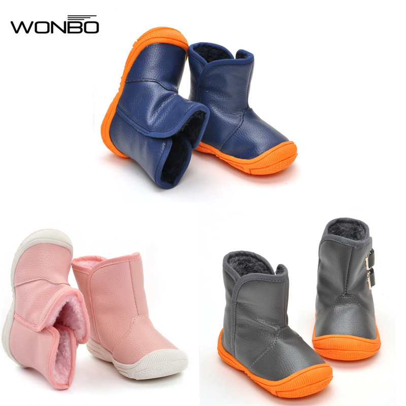 3 Color Cute Winter Warm Baby Shoes PU Infants Toddler Baby Boys Girls Boots Soft Newborn Baby First Walkers Non-slip