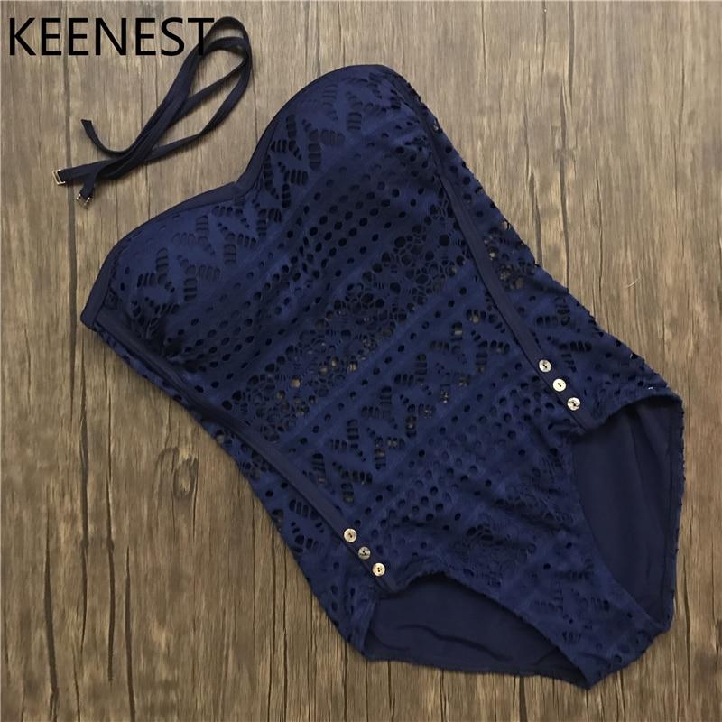 KEENEST S-XXXL Sexy Crochet Swimwear One Piece Swimsuit Cut Out Monokini Swimsuit Women Mesh Bathing Suit Maillot De Bain Beach