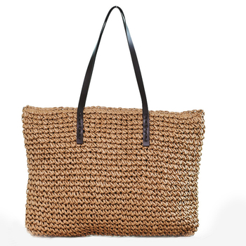 BEAU-Hot Straw Bag Women Handbag Bohemia Beach Bags Handmade Wicker Summer Tote Bags Rattan Shoulder Bags(Brown)