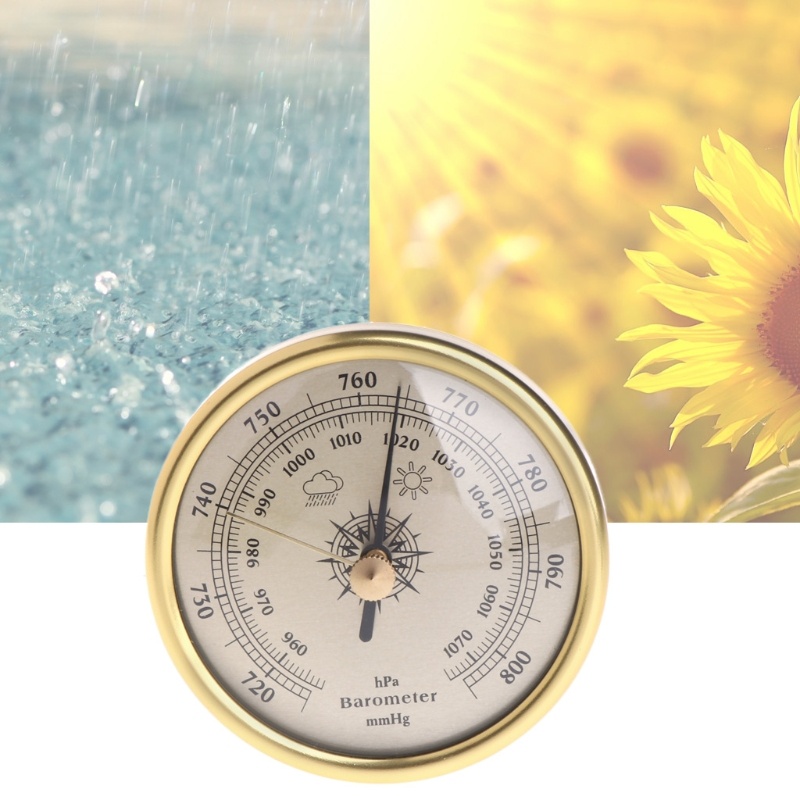 72mm Wall Hanging Barometer 1070hPa Gold Color Round Dial Air Weather Station Dial Barometer %328&313