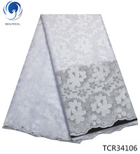 BEAUTIFICAL white swiss voile lace exclusive fabrics for wedding 5 yards with flower pattern TCR341