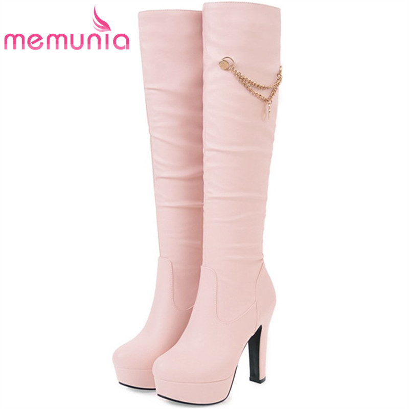 MEMUNIA Slip-on womens boots in autumn winter high heels shoes woman knee high boots fashion sweet platform boots big size 34-45 fashion snake printed thigh high boots med heels slip on over the knee boots autumn winter party banquet prom shoes woman