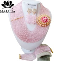 Trendy Nigeria Wedding Baby Pink african beads jewelry set crystal necklace bracelet earrings Free shipping Majalia 033