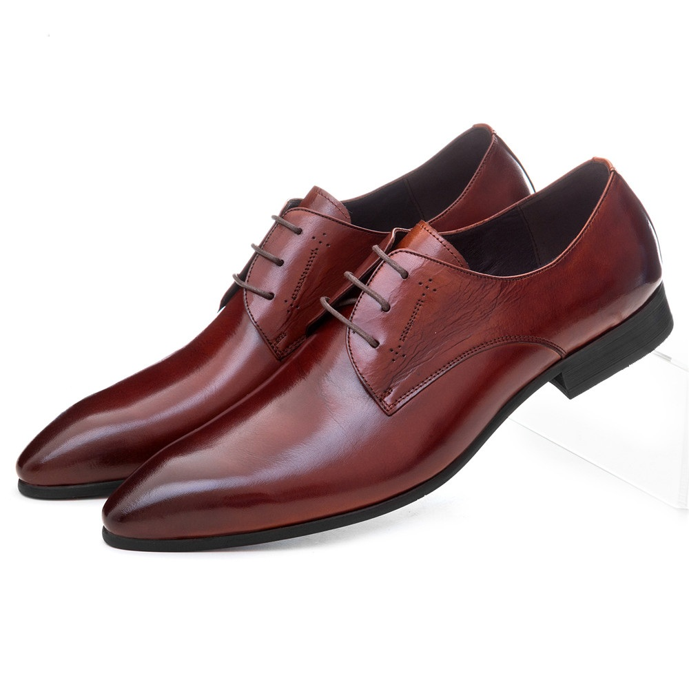 Fashion black / brown tan dress shoes man casual business shoes genuine leather pointed toe mens wedding shoes стоимость