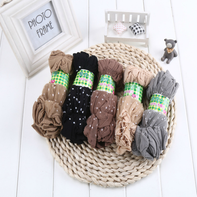50 Pair/ Lot New Cool Breathable Women <font><b>Girl</b></font> Silk Socks Summer <font><b>Sexy</b></font> Black Skin Coffee 5 Colors Dots Pattern Quality Flexible Sock image