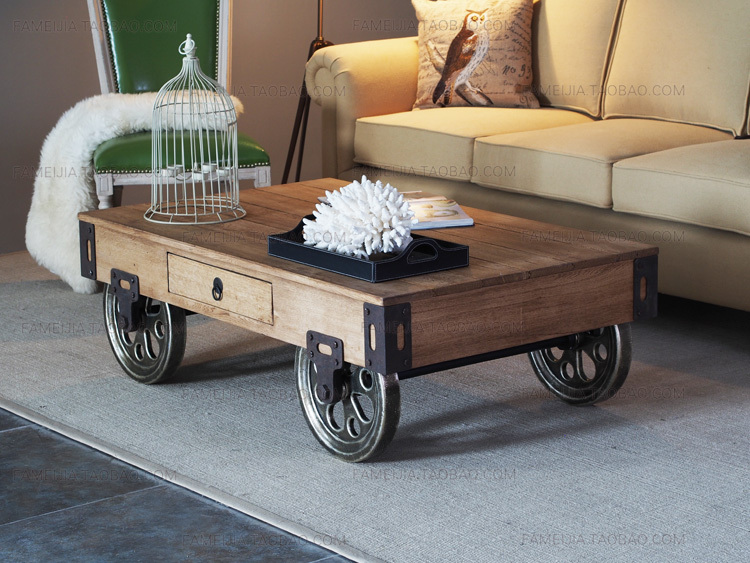 Exceptionnel French American Minimalist Rustic Wood Coffee Table Coffee Table Coffee  Table Modern Creative Iron Wood Coffee Table With Wheels In Coffee Tables  From ...