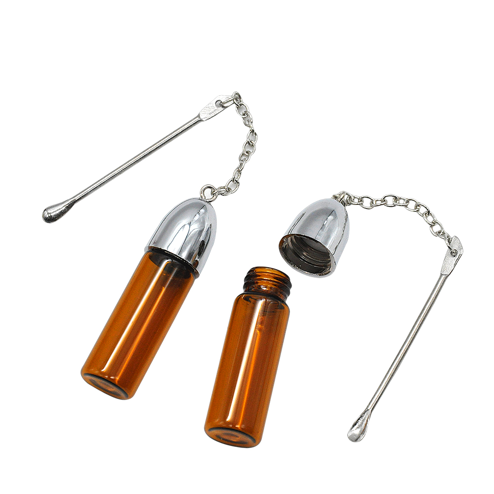 5Pcs 36mm/57mm/72mm Clear/brown Bottle With Ear Spoon Glass Bottle Pill Box Oil Jar Storage Rocket Snuff Snorter