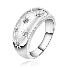 R504 special 925 sterling silver jewelry fashion classic women crystal glossy ring retro style