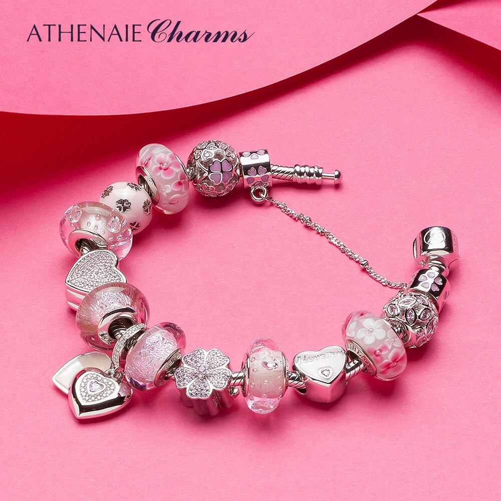 ATHENAIE 925 Серебряный цветок Сердце Подвески любимой маме подвеской розовый девушка Shimmer бусины из муранского стекла, браслет выполните Брасле