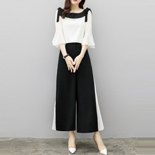 LAUZUOLA 2019 Summer Wide Leg Pants Two Piece Set Women Chiffon Flare Blouse Skirt