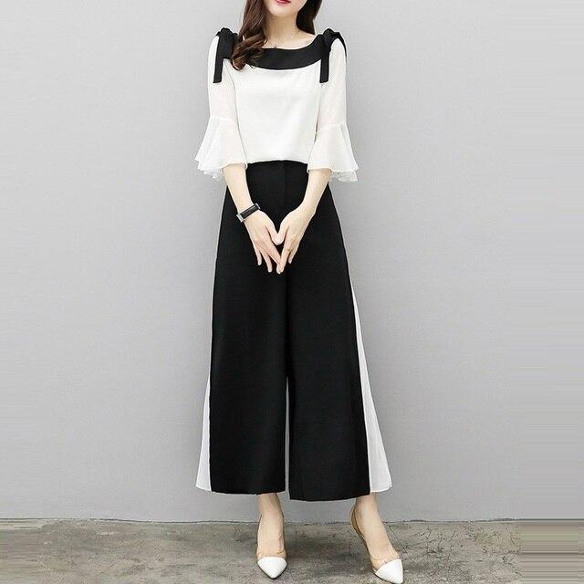 134ce5ff4c5b 2019 Summer Set New Fashion Wide Leg Pants Chiffon Suit Two Piece Set Women  Chiffon Flare Blouse And Skirt Pant Suits Sets