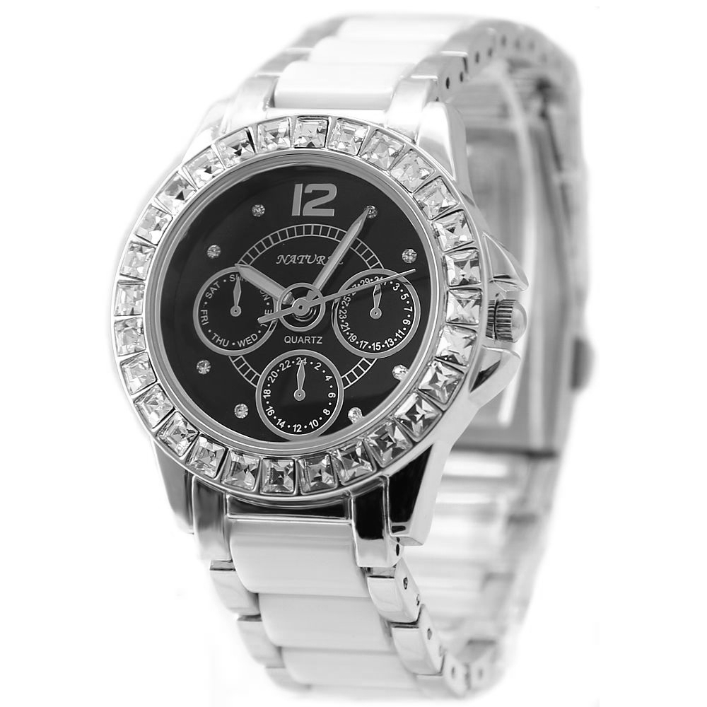 FW830J PNP Shiny Silver Watchcase Black Dial Ladies Women Ceramic Bracelet Watch