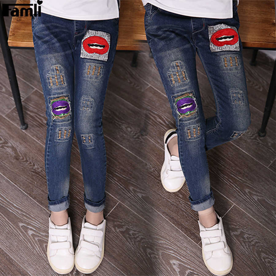 65abf0250e ... 3Y-14Y Teenager Girls Jeans Pant 2019 Children Spring Autumn Casual  Light Denim Skinny Patchwork ...