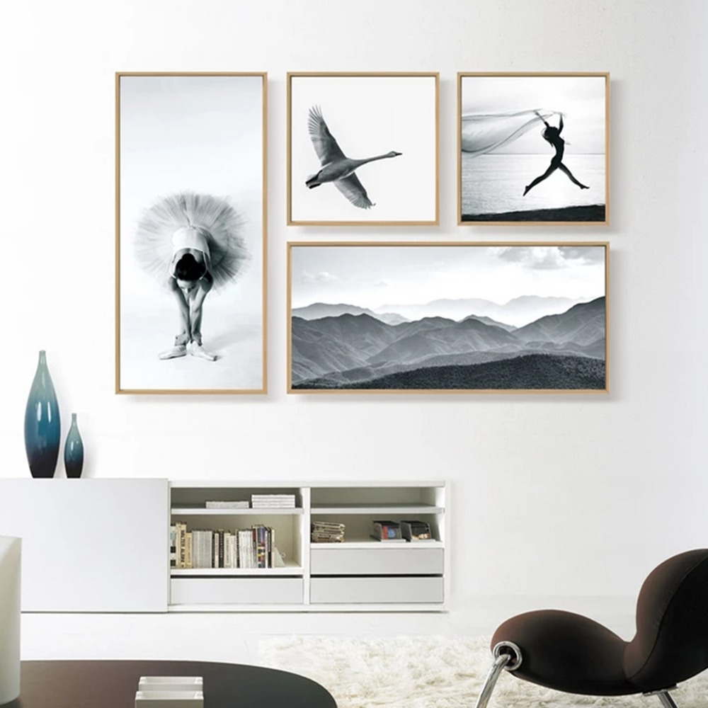 NUOMEGE Ballet Dancer Girl Canvas Painting Mountain Canvas pósters - Decoración del hogar