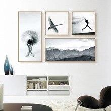 NUOMEGE Balletdanseres Meisje Canvas schilderij Canvas van de berg posters Zwaan afdrukken Wall Art foto's voor moderne woonkamer Decor