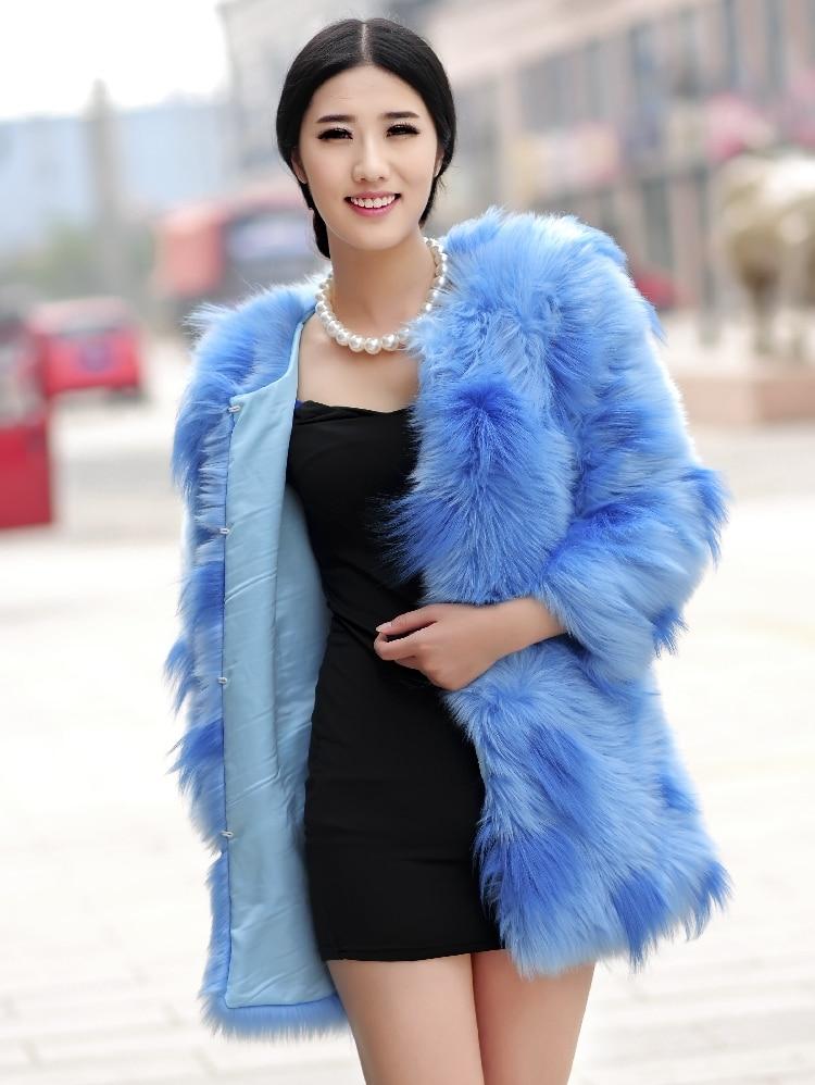 Шуба из лисьего меха пальто средней длины с цветным блочным украшением верхняя одежда из искусственного меха