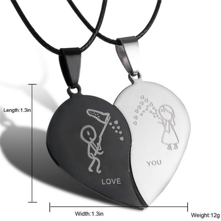 2015-New-Jewelry-Couple-Broken-Heart-choker-Necklaces-Black-Cord-Necklace-Stainless-Steel-Engrave-Love-You (6)