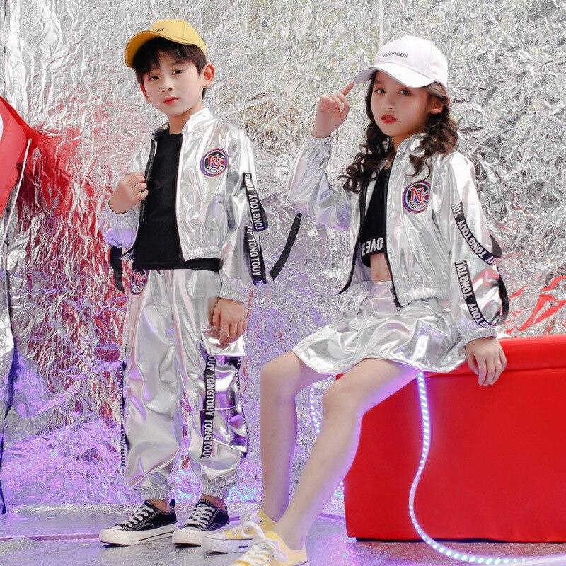 Kids Hip Hop Clothing For Girls Boys Crop Tank Tops Shirt PU Jacket Short Pants Jazz Dance Costume Ballroom Dancing Clothes