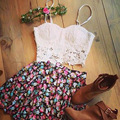 2016 New White Appliques Casual Crop Top And Skirt Set Off 2 piece set women Sexy V-Neck Strap Mini Print Skirts