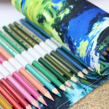 Dropshipping Pencil Case Canvas Roll Pouch Comestic Makeup Brush Case Pencil Curtain Bag Pattern Printed MDP66 все цены