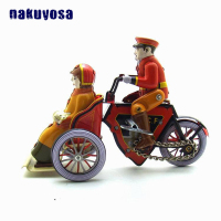 Retro Nostalgic Gentleman Ride A Tricycle Mechanical Toy Metal Tin Man Clockwork Toy Collectibles Desktop Ornament Birthday Gift