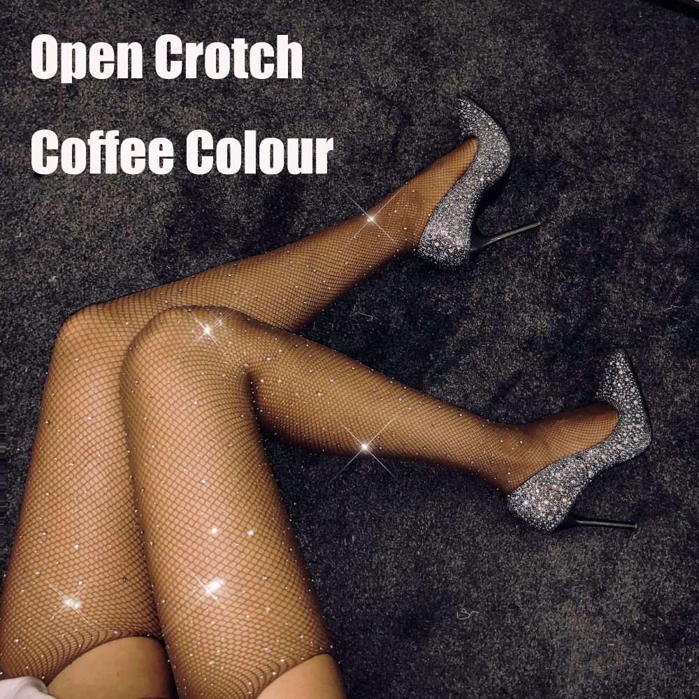 Sexy Rhinestone Mesh Fishnet Pantyhose Women Tights Open Crotch Tights With Crystals Shiny Plus Size Party Club Hosiery SW071