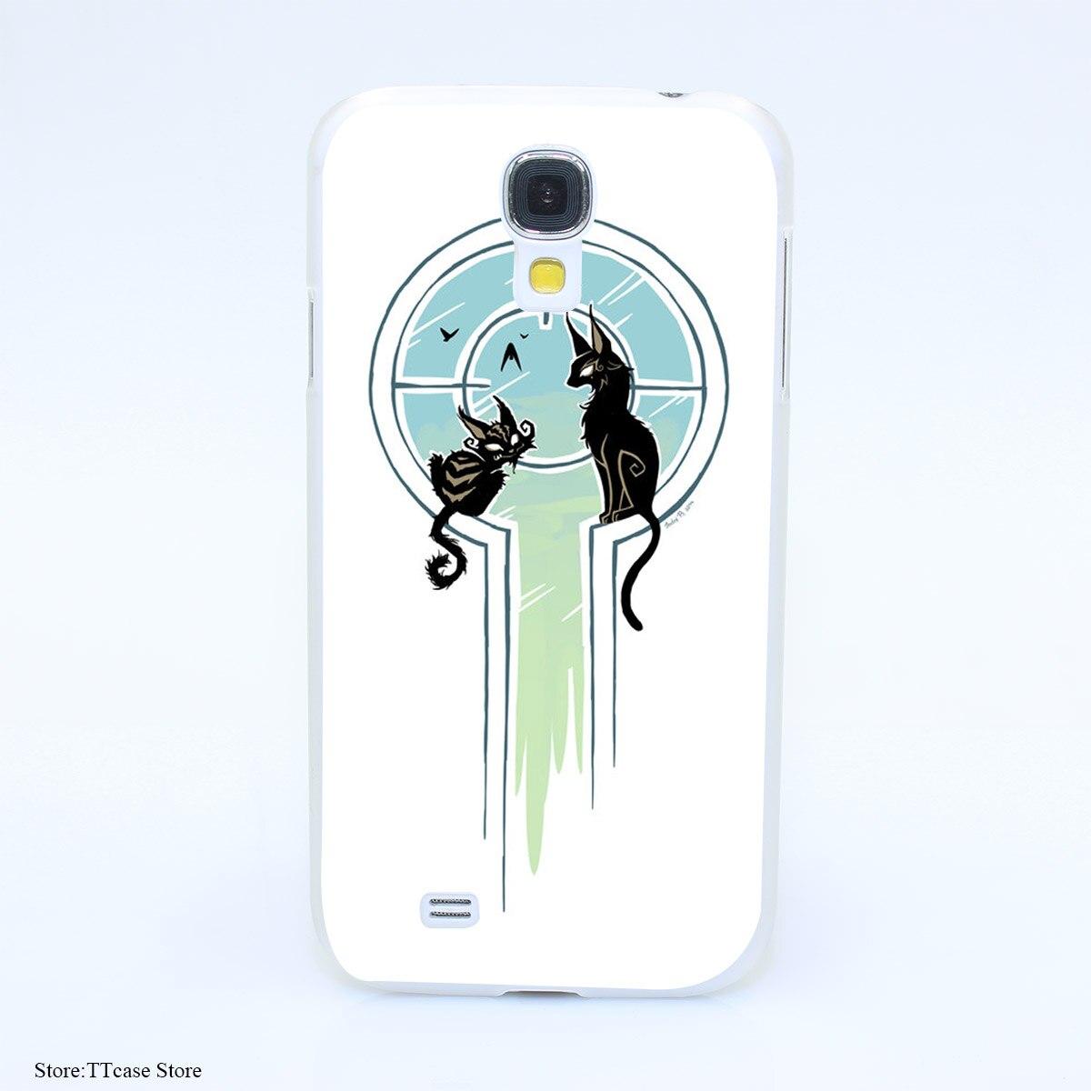 4075CA Window Cats Hard Transparent Case Cover for Galaxy S2 S3 S4 S5 & Mini S6 S7 & edge Plus