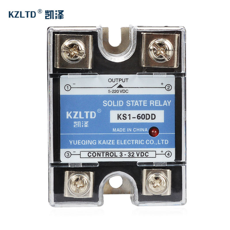 60A Solid State Relay Module SSR-60DD 3~32V DC to 5~220V DC Relay Module for PID Temperature Contoller KS1-60DD No Contact