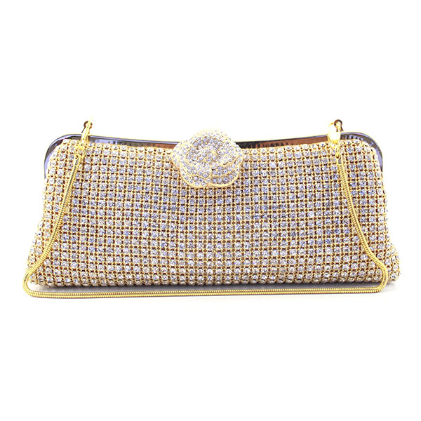 Women Frame Crystal Evening Clutch Bags Bridal Wedding Dress Diamond Handbags Purse With Two Metal Chains(6077-BG) golden crystal diamond rabbit women evening clutch bags bridal wedding dress handbags shoulder purses hard case metal clutches