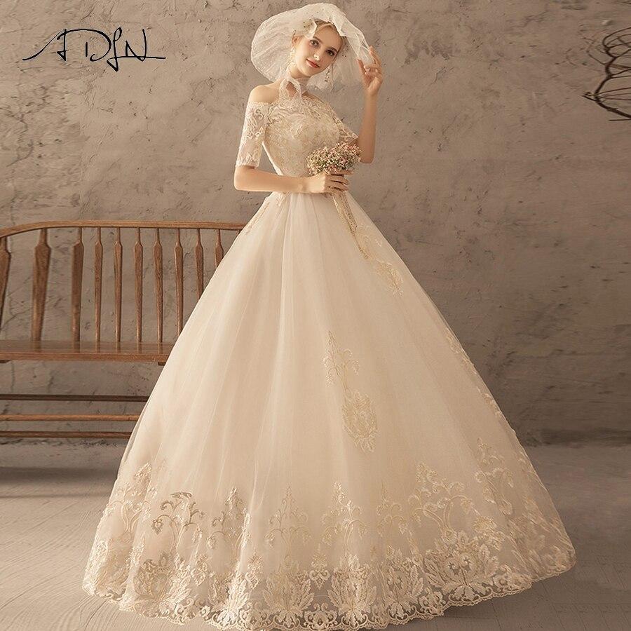 ADLN 2019 Vintage Wedding Dress Boat Neck Half Sleeves