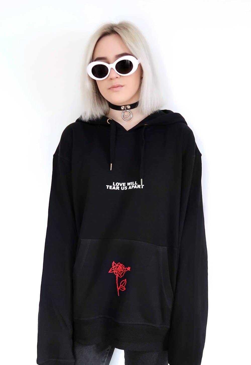 Amour va nous déchirer Rose sweat à capuche noir Tumblr inspiré esthétique Pastel pâle Grunge esthétique 2018 nouveau