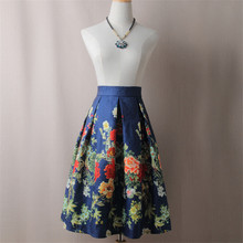 Floral Print Ball Gown Pleated Midi Skirt Summer Autumn Vintage Saias Women Girl Casual Skater