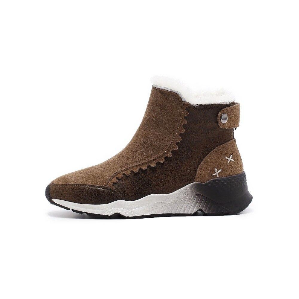 Rond Mode Femmes Black Bout forme Chaussures En Populaire Cuir Hiver 2018 Bottes Cheville Suédé Plate brown Smirnova Sur Glissement Nouvelle Lady gUx5pww7q