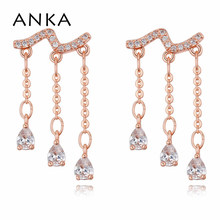 ANKA brand top zirconia luxury wave women drop earrings rose gold color charm romantic water drop earings fashion Jewelry 123002 anka brand romantic flower earrings luxury wave women drop earrings rose gold color charm top zirconia fashion jewelry 26081