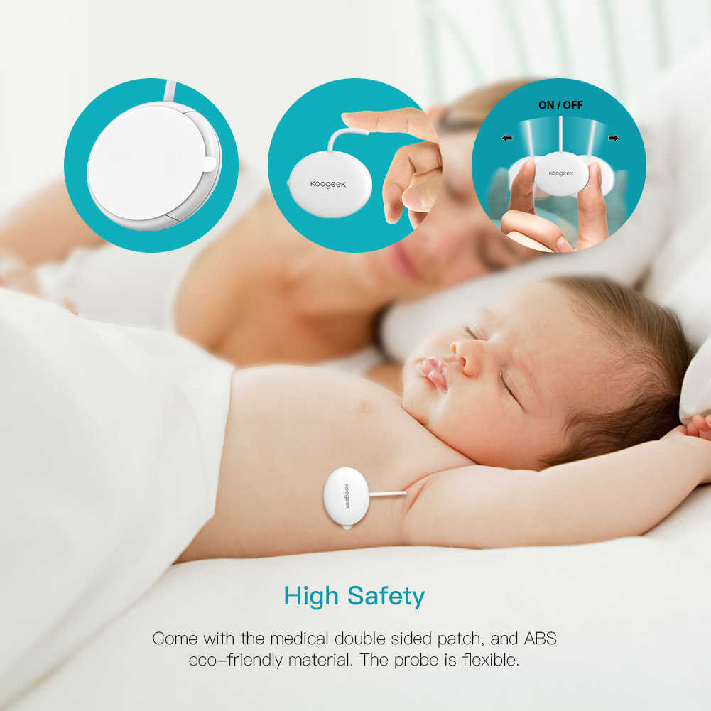 Koogeek Wearable Smart Baby Thermometer Professional Wireless 4.0 Monitoring without Disturbing Baby 10 Adhesive Patche Included