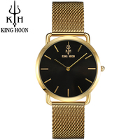 KING HOON Brand Luxury Gold Women Watches Steel Quartz Ladies Rose Bracelet Watch Casual Clock Lovers