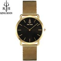 KING HOON Brand Luxury Gold Women Watches Steel Quartz Ladies Rose Bracelet Watch Casual Clock Lovers