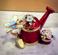 NEW Collectible Decorative Stacker Trinket Boxe Garden Watering Can with Butterfly and Flowers Trinket Jewelry Box Novelty Gifts